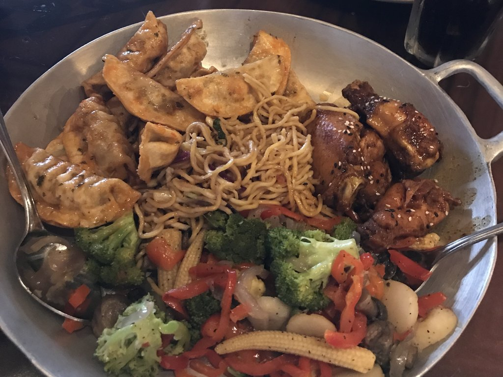 Pork Dumplings, Honey Corriander Chicken Wings with Teriyaki Sauced Noodles and vegetables - leave room for skewers and pudding!