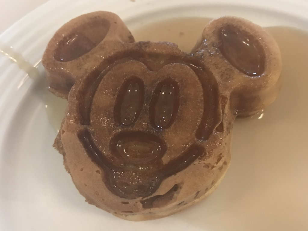 Mickey Waffles and Syrup at Breakfast - Another Must!
