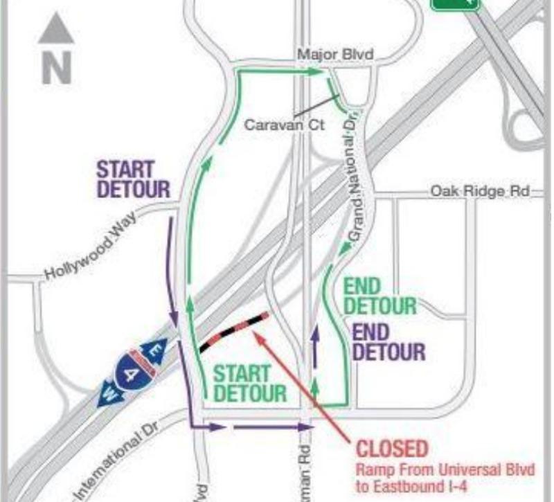 I-4 Detour Map