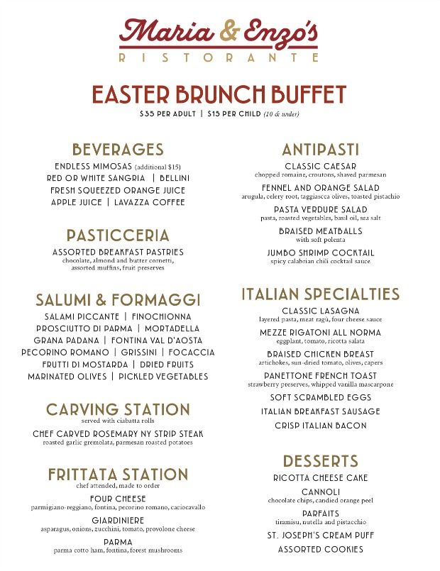 Maria Enzo's Easter Brunch Menu