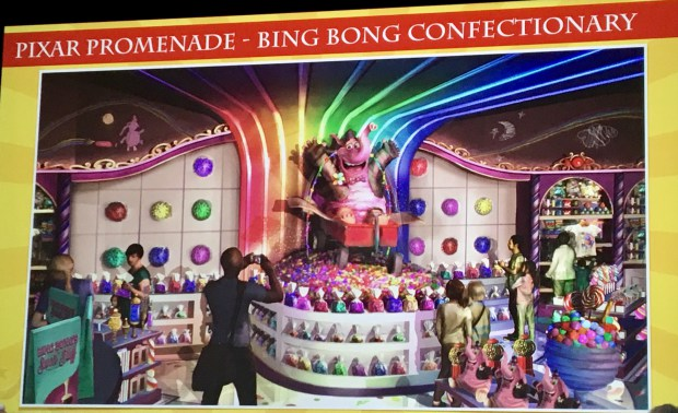 Artist rendering of the new Bing Bong Confectionary shop provided by Walt Disney Imagineering of the upcoming changes to the new Pixar Pier development at Disney California Adventure in Anaheim, as of March 8, 2018. The pier is still under construction. Photo by Marla Jo Fisher, the Orange County Register, at Walt Disney Imagineering in Glendale, CA.