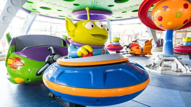 Alien Swirling Saucers Green Aliens