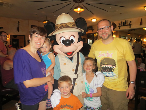 My family with Mickey at Tusker House