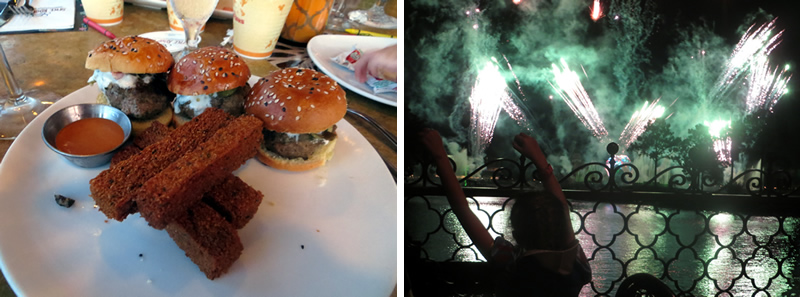 Lamb sliders and my daughter watching Illuminations at Spice Road Table