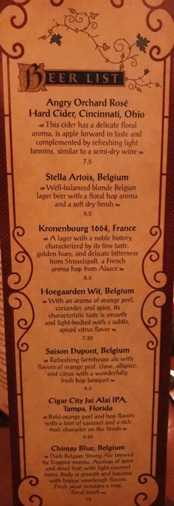 BOG Prix Fixe Beer List