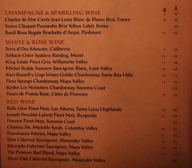 BOG Prix Fixe Wine List