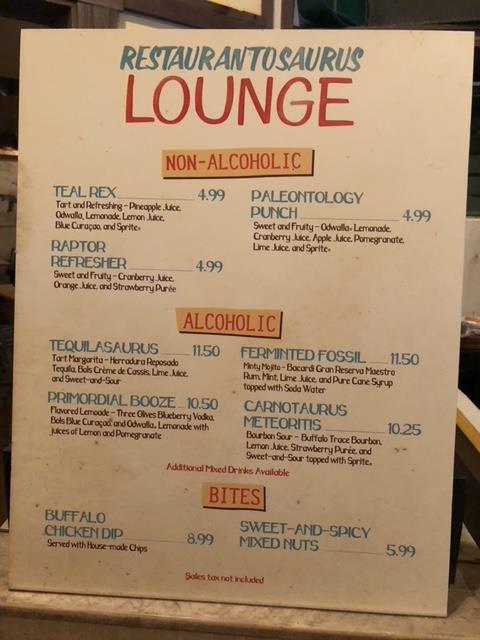 Restaurantosaurus Lounge Menu