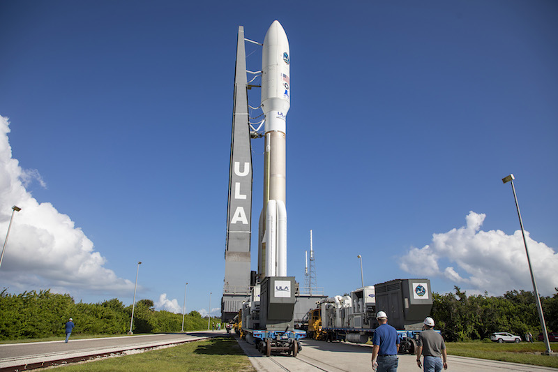 A ULA Atlas V rocket carrying the AEHF-4 mission for the U.S. Air Force is rolled from the Vertical Integration Facility to the launch pad at Cape Canaveral's Space Launch Complex-41.  (Photo courtesy of ULA.)