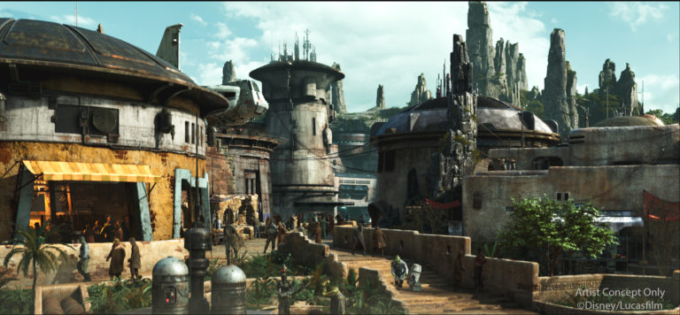 Black Spire Outpost is the name of the village inside of the upcoming Star Wars: Galaxy's Edge at both Disneyland Resort in California and Walt Disney World Resort in Florida. The village is closely associated with the geological formations that surround it. As the largest settlement on the planet Batuu, Black Spire Outpost is an infamous stop for traders, adventurers, and smugglers traveling around the Outer Rim and Wild Space. Star Wars: Galaxy's Edge will open at Disneyland Resort in summer 2019 and at Walt Disney World Resort in late fall 2019. (Disney)