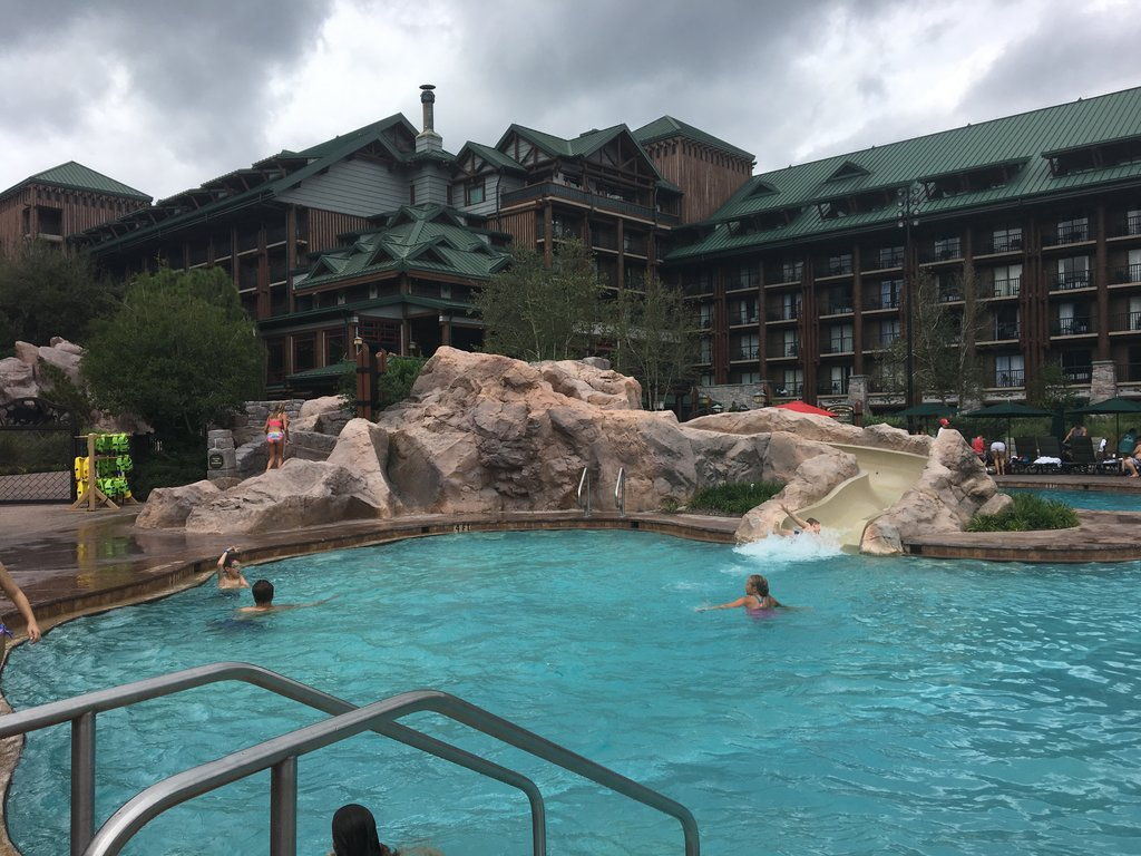 Take a ride or two down the waterslide at Wilderness Lodge's main pool. Photo: Lisa Rufle
