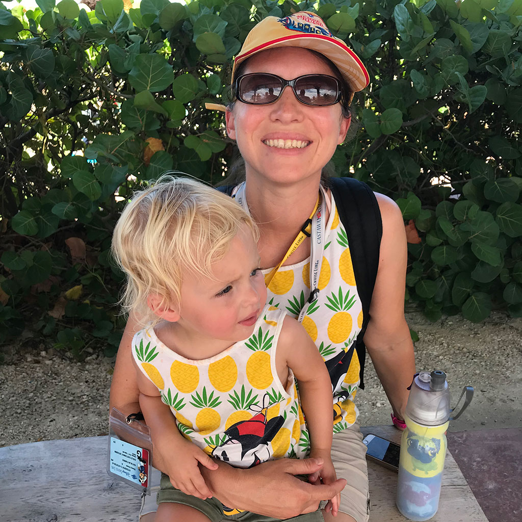 My daughter and I enjoying Castaway Cay on the DVC Member Cruise