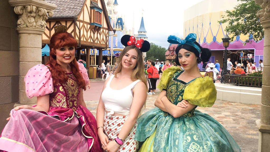 Feeling better at the Magic Kingdom with the step sisters!