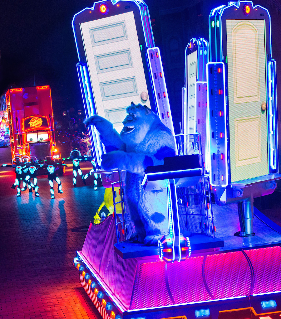 SULLEY ON THE SCARE FLOOR IN 'PAINT THE NIGHT' (ANAHEIM, Calif.)— Sulley from 'Monsters, Inc.' brings guests into the world of Monstropolis in this all-new new after-dark spectacular at Disneyland park inspired by the iconic 'Main Street Electrical Parade.' 'Paint the Night' is full of vibrant color and more than 1.5 million, brilliant LED lights and features special effects, unforgettable music, and energetic performances that bring beloved Disney and Disney●Pixar stories to life. Celebrating 60 years of magic, 'Paint the Night' is one of three new nighttime spectaculars which will immerse guests in the worlds of Disney stories like never before. The Diamond Celebration at the Disneyland Resort begins Friday, May 22, 2015.
