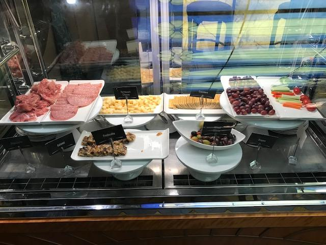 Meats, Cheeses, Veggies, and Fruits available in the evening at Vista Cafe.