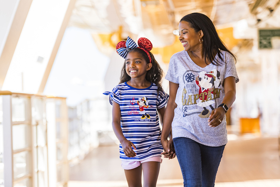 "To celebrate the excitement of Captain Minnie Mouse at the helm, Disney Cruise Line unveiled a special line of merchandise exclusive to the Disney fleet, including nautical-themed apparel and gifts touting the tagline, ""You Can Call Me Captain."" The debut of Captain Minnie Mouse is part of a collection of new initiatives aiming to inspire the next generation of female leaders in the maritime industry. (Matt Stroshane, photographer)"