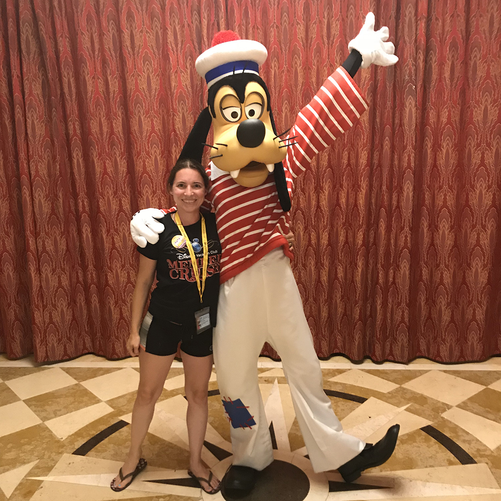 Having fun with Goofy on my birthday on the 2018 DVC Member Cruise.