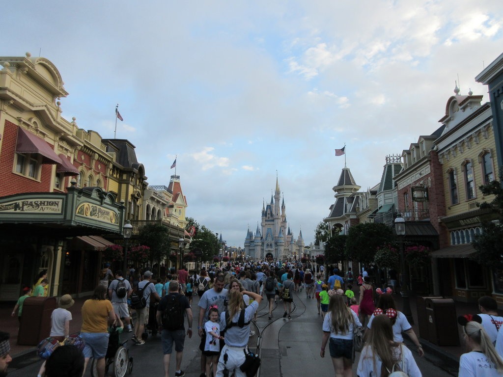 The crowd on Main Street at Magic Kingdom during spring break, one hour before opening.