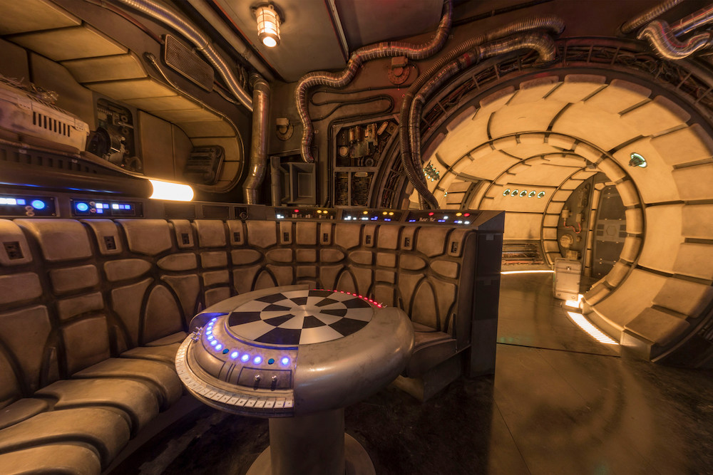 The famous main hold lounge is one of several areas Disney guests will discover inside Millennium Falcon: Smugglers Run before taking the controls in one of three unique and critical roles aboard the fastest ship in the galaxy at Star Wars: Galaxy's Edge at Disneyland Park in Anaheim, California, and at Disney's Hollywood Studios in Lake Buena Vista, Florida. (Joshua Sudock/Disney Parks)