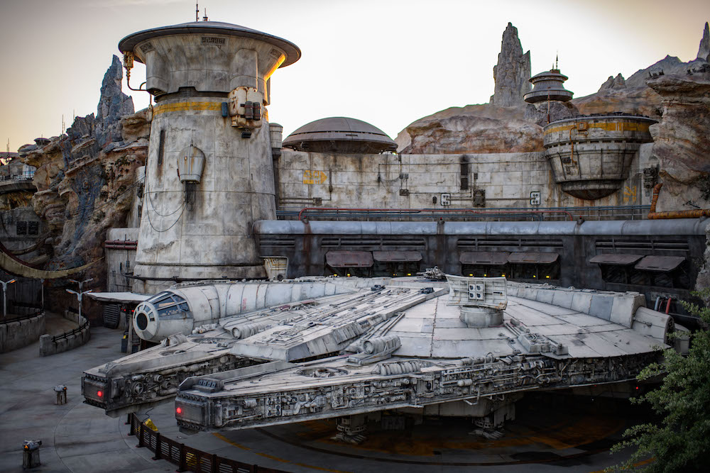 Star Wars: Galaxy's Edge at Disneyland Park in Anaheim, California, and at Disney's Hollywood Studios in Lake Buena Vista, Florida, is Disney's largest single-themed land expansion ever at 14-acres each, transporting guests to Black Spire Outpost, a village on the planet of Batuu. Guests will discover two signature attractions. Millennium Falcon: Smugglers Run (pictured), available opening day, and Star Wars: Rise of the Resistance, opening later this year. (Richard Harbaugh/Disney Parks)