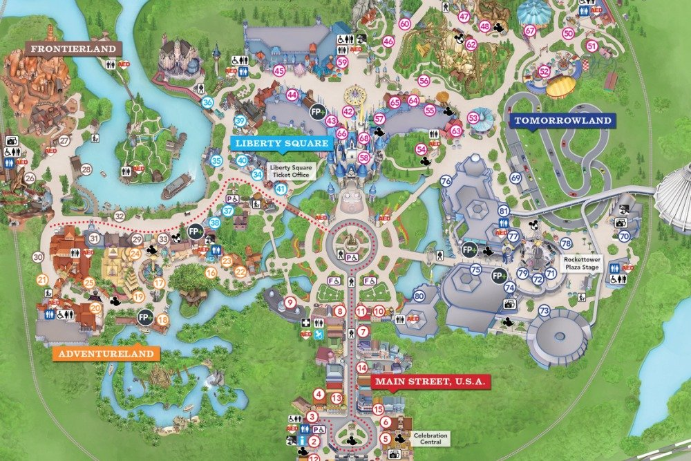 Clean image throughout printable maps of disney world parks