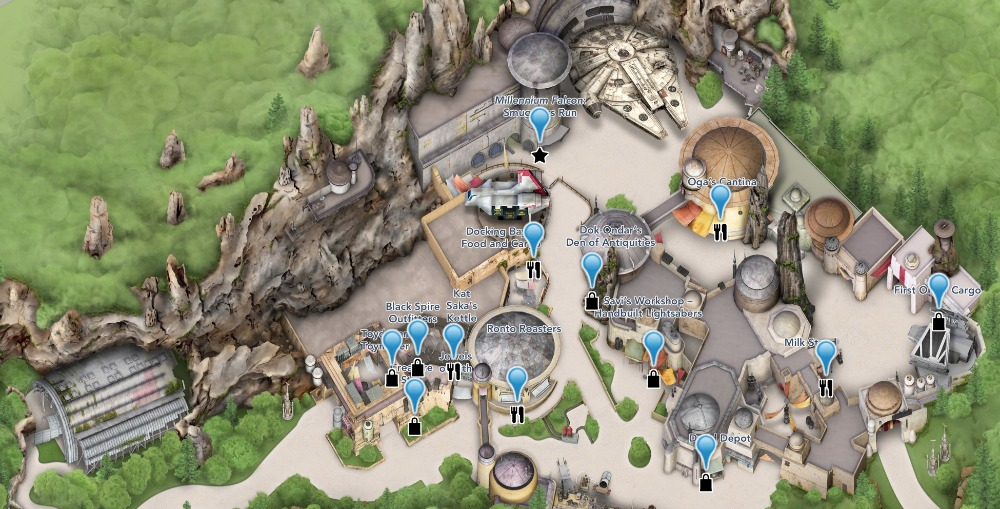 2019 Disney Hollywood Studios Map Rare Star Wars Galaxys Edge version
