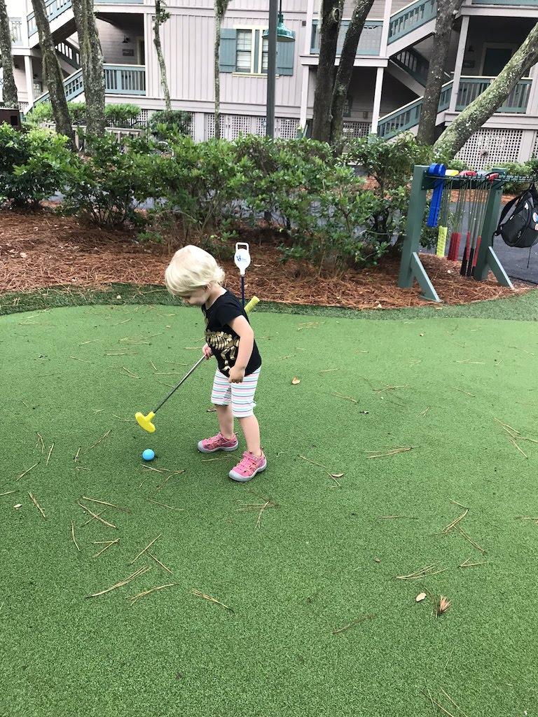 Playing golf at Hilton Head Island Resort.