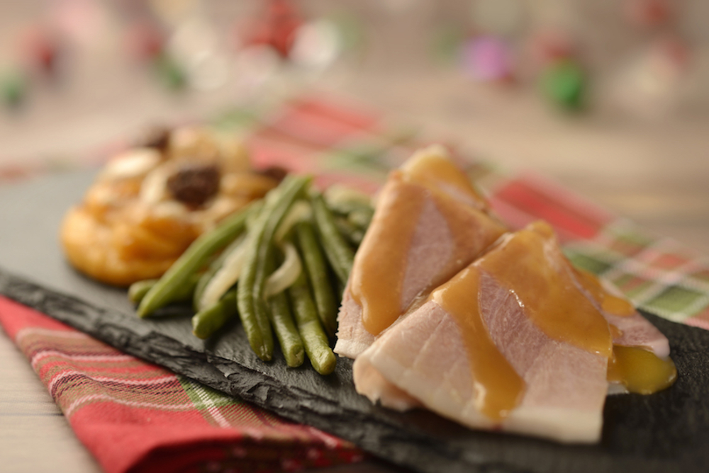 Hand-carved Smoked Ham with Green Beans and Sweet Potato Casserole