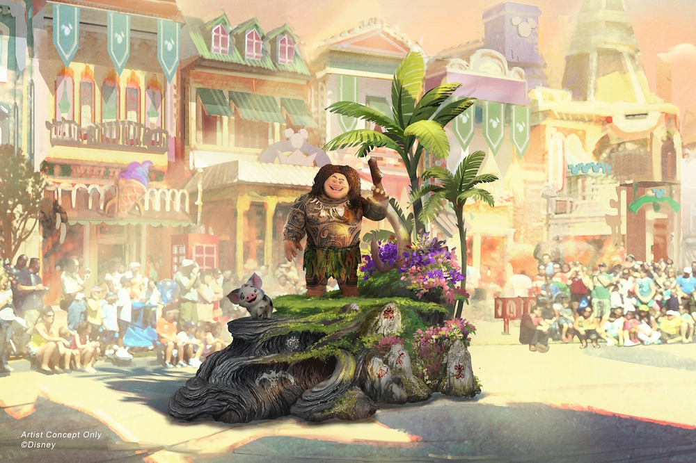 "Set to debut Feb. 28, 2020, at Disneyland Park in California, the new ""Magic Happens"" parade will come to life with an energetic musical score and a new song co-composed by singer-songwriter Todrick Hall. The parade will feature stunning floats, beautiful costumes, and beloved Disney characters. Depicted in this image, guiding Moana on her journey is Maui, who travels along on his own magical piece of the islands with Moana's adorable pet pig, Pua. (Disney)"