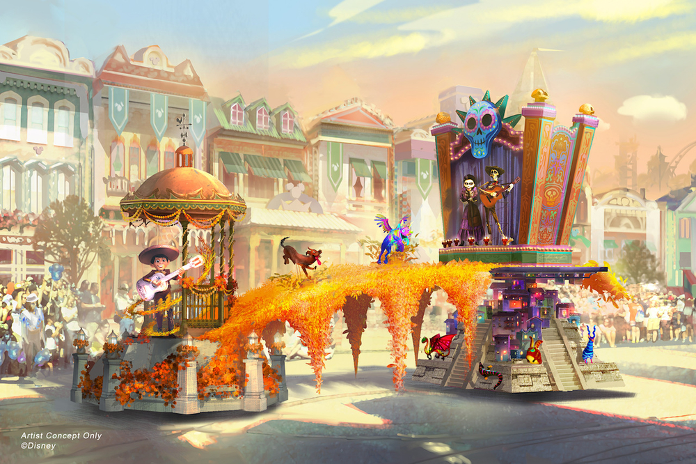 "Set to debut Feb. 28, 2020, at Disneyland Park in California, the new ""Magic Happens"" parade will come to life with an energetic musical score and a new song co-composed by singer-songwriter Todrick Hall. The parade will feature stunning floats, beautiful costumes, and beloved Disney characters. Depicted in this image, Miguel appears in person for the first time, celebrating the magic that happens when he strums the guitar of Ernesto de la Cruz in the Disney and Pixar film ""Coco."" This spectacular float bridges the Land of the Living and the Land of the Dead with vibrant marigolds, and fantastical alebrije spirit animals join the procession, along with Miguel's dog Danté. (Disney)"