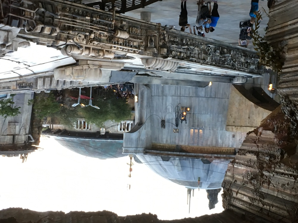 View of Galaxy's Edge from inside Smugglers Run queue