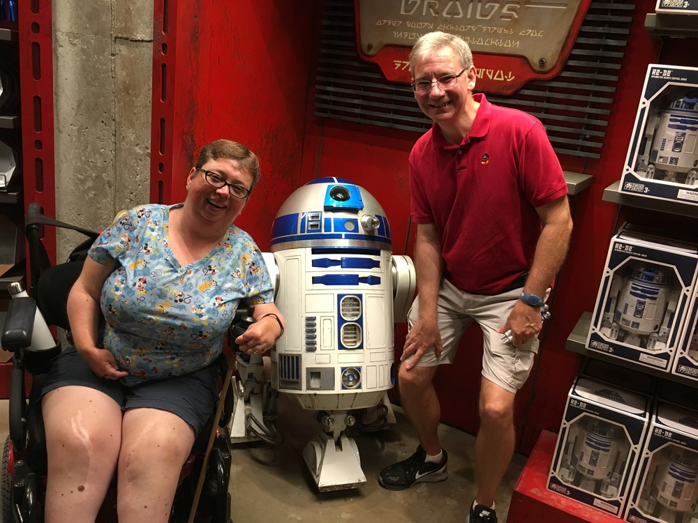Author and husband visiting the droid shop
