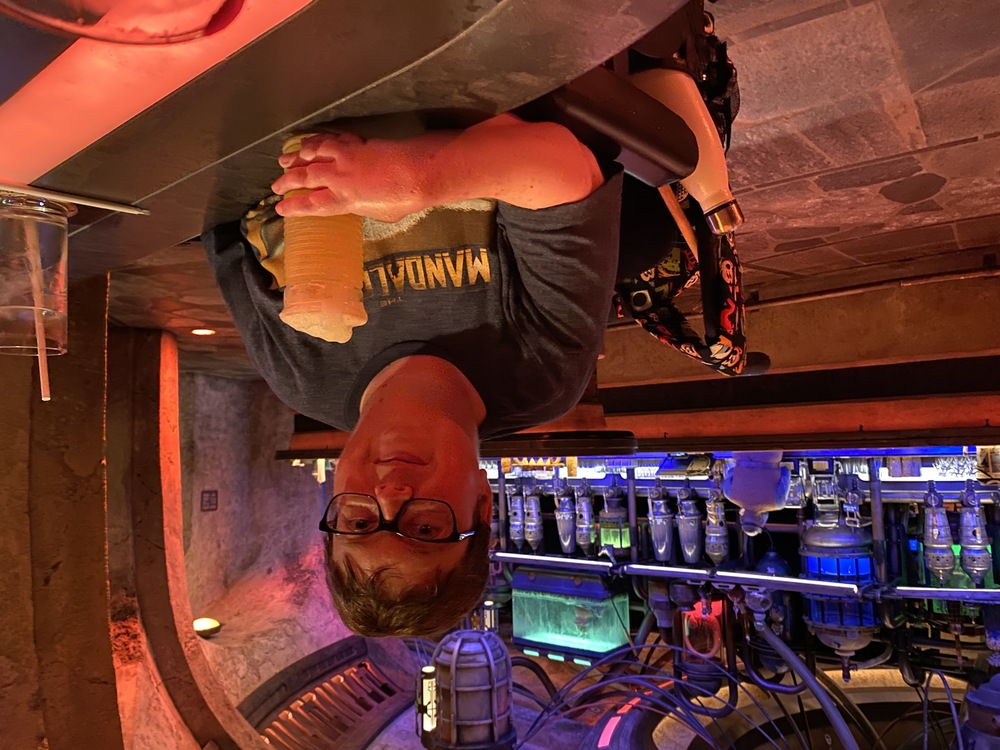 Author cooling off with a beverage at Oga's Cantina