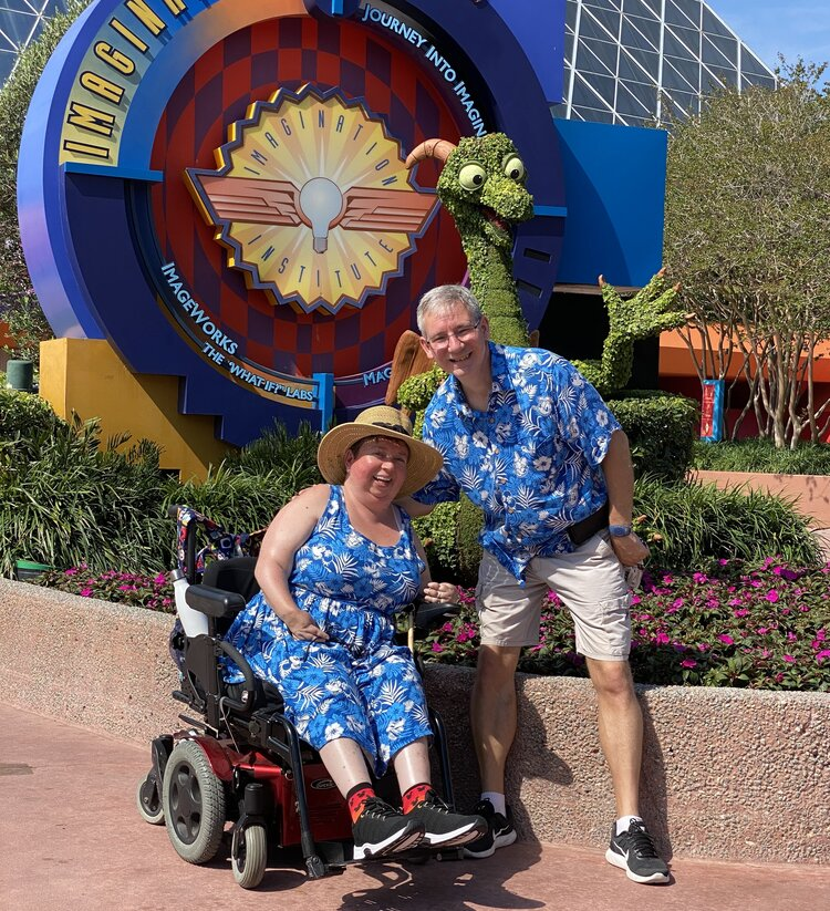Author with husband at EPCOT