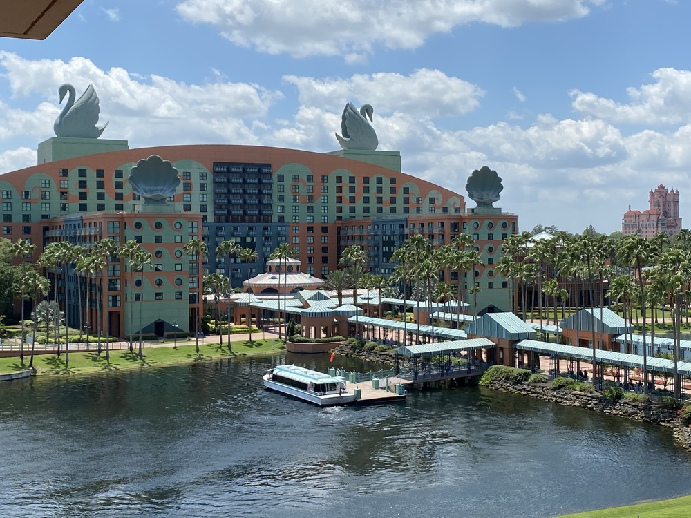 View of the Swan Resort and boat dock from the Dolphin Resort