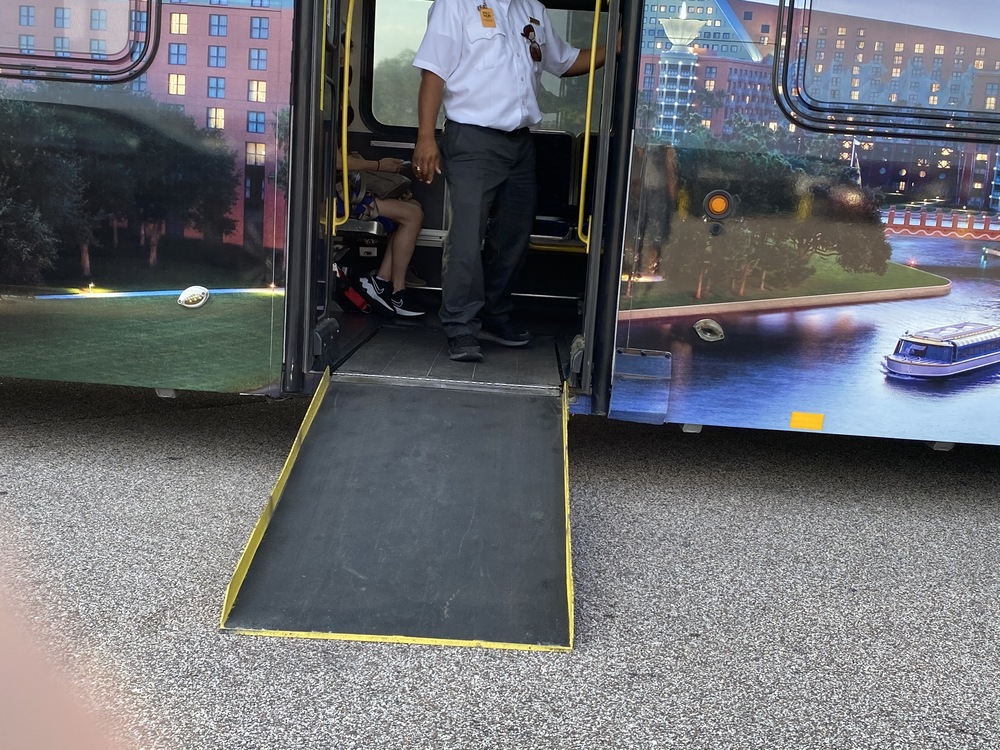 Mears-operated shuttle to WDW parks with ramp down for wheelchair boarding