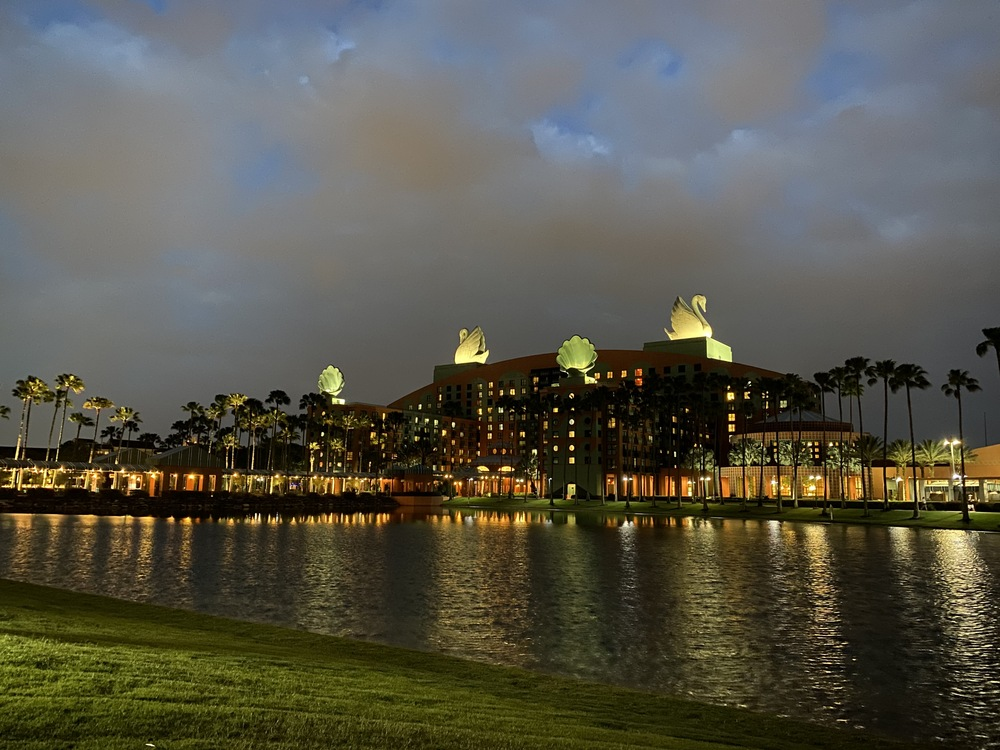 Night view of the beautiful Swan and Dolphin Resorts