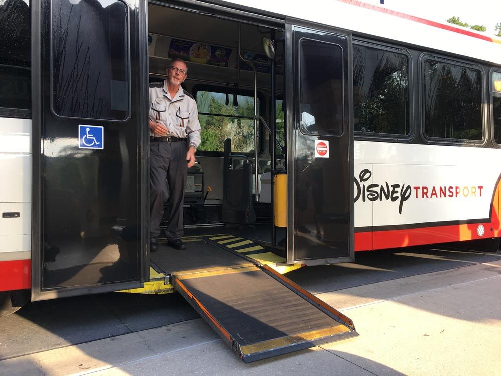 Walt Disney World bus with ramp deployed