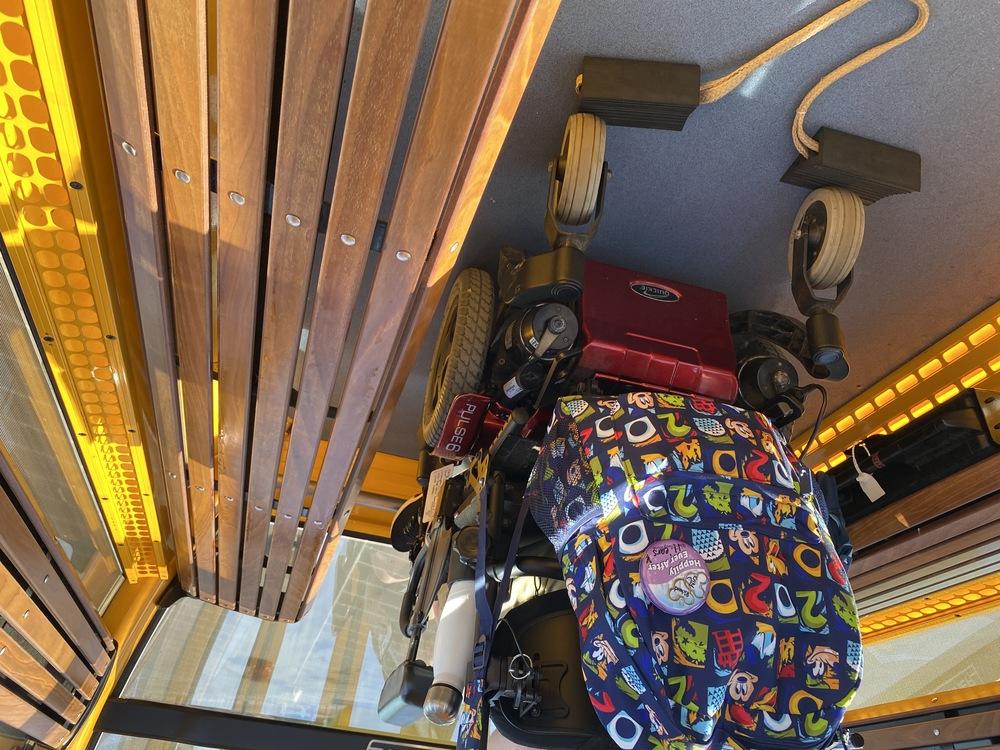 Author parked on Skyliner gondola with wheels blocked
